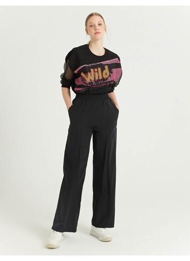 BGN Siyah - Geniş Paça Pantolon Siyah
